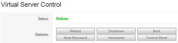 Billing and support VPS controls