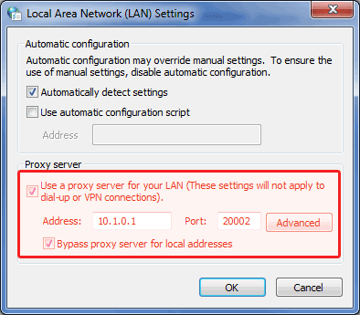 LAN proxy settings